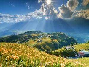 Postal: Personas en el mirador contemplando las montañas