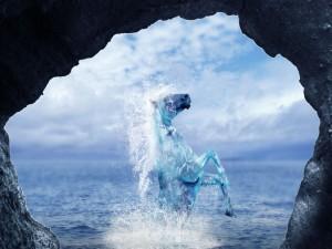 Postal: Observando un misterioso caballo a través de unas rocas