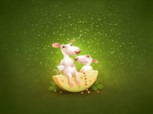Dos ratones felices junto a un trozo de queso