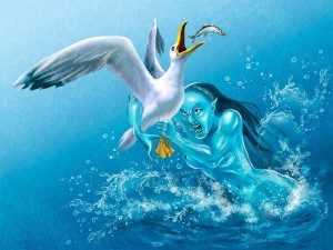 Postal: Una sirena maligna atrapando a una gaviota