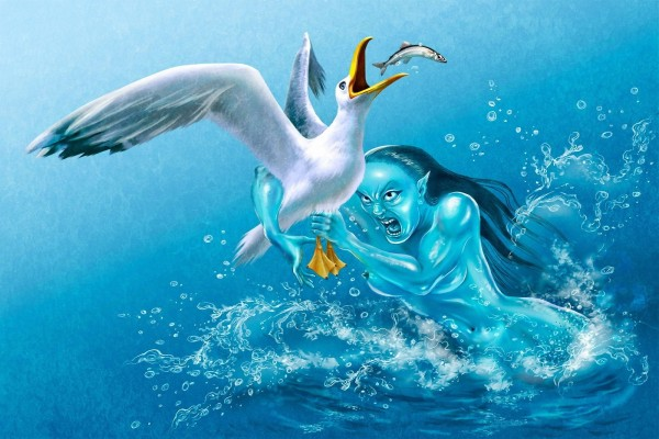 Una sirena maligna atrapando a una gaviota