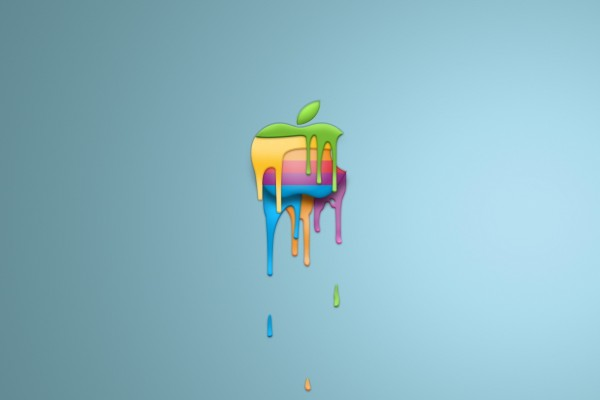 Pintura deslizándose del logo de Apple
