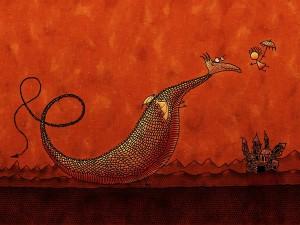 Un niño hablando con el dragón