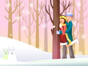 Postal: Pareja de enamorados felices en la nieve