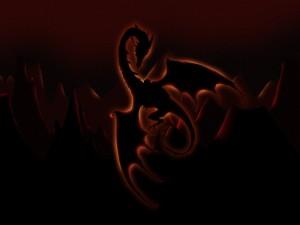 Postal: Oscuro dragón en las montañas
