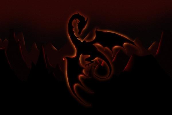 Oscuro dragón en las montañas