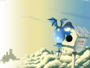 Postal: Un pequeño y tierno dragón azul