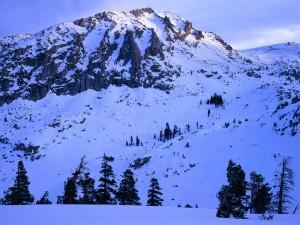 Junto a la gran montaña nevada