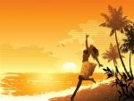 Una mujer corriendo por la playa al atardecer