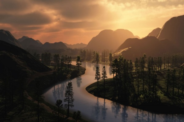 Vista de un precioso río al atardecer