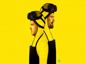 Walter y Jesse en un fondo amarillo (Breaking Bad)