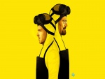 Walter y Jesse en un fondo amarillo (Breaking Bad)