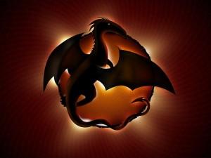 Postal: Dragón con las alas desplegadas