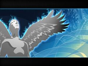 Un ángel mirando al cielo