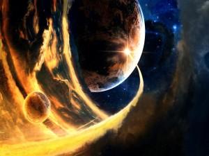Postal: Fuego en el espacio