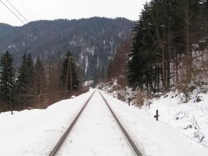 Vías de tren cubiertas de nieve