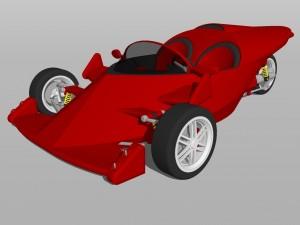 Un auto de carreras en tercera dimensión