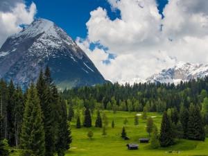 Postal: Golfistas en un campo de golf entre montañas