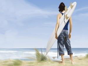 Postal: Un joven con su tabla de surf contemplando el mar