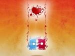 Corazón sobre una pareja de enamorados