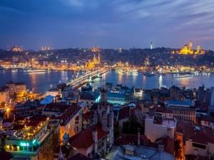 Postal: Amanecer en Estambul, Turquía