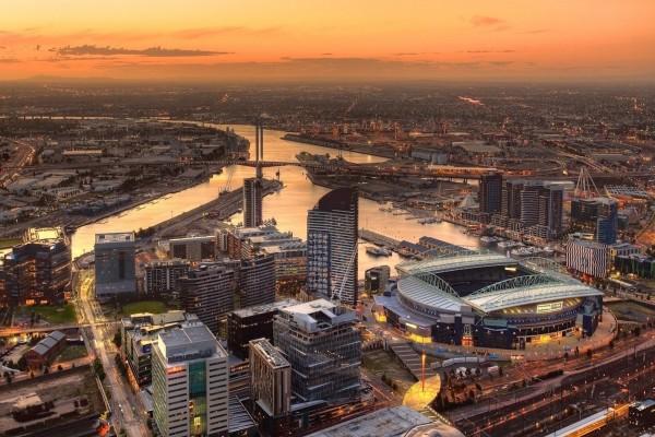 Atardecer en la ciudad de Melbourne (Australia)