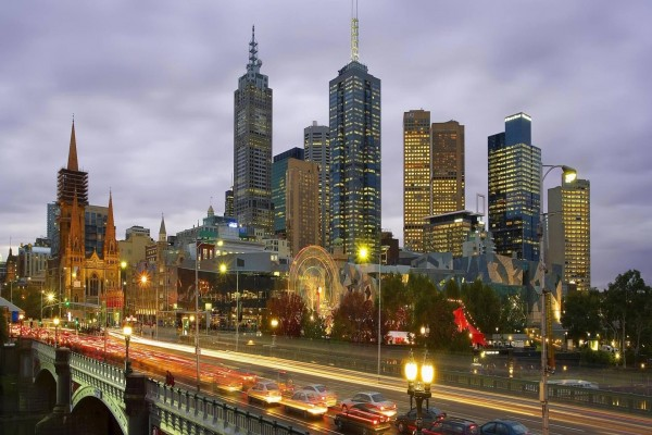 Anochecer en  Melbourne (Australia)