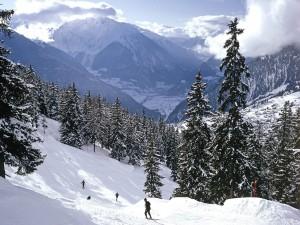 Esquiando en un bello lugar