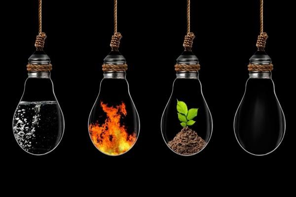 Bombillas con los cuatro elementos