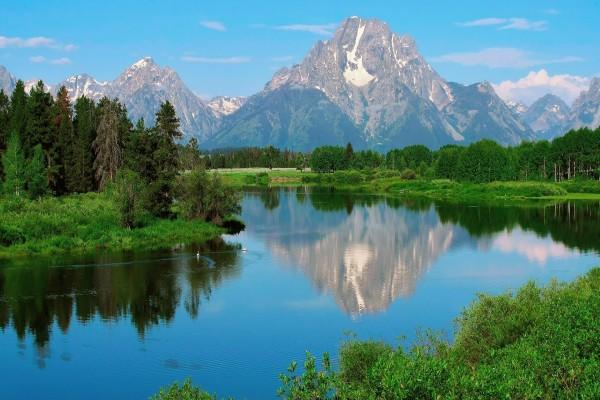 Aguas tranquilas en el río Snake (Parque Nacional Grand Teton)