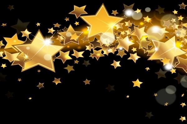 Brillantes estrellas doradas de diversos tamaños