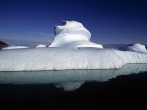 Postal: Iceberg flotando en las frías aguas