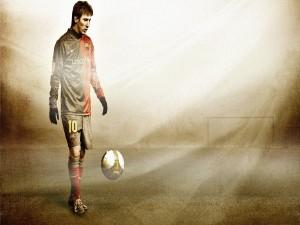 Postal: Lionel Messi con la equipación del Barcelona