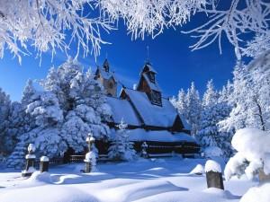 Postal: Gran nevada sobre la iglesia