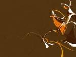 Dibujo abstracto en fondo marrón
