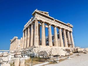 Postal: Trabajos de restauración en la Acrópolis de Atenas