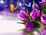Mariposas volando sobre unos esbeltos tulipanes