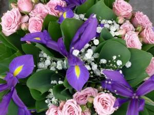 Bello ramo de rosas e iris