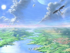 Postal: Aves en el cielo de un extraño mundo