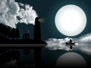 Postal: Enamorados besándose en una barca a la luz de la luna