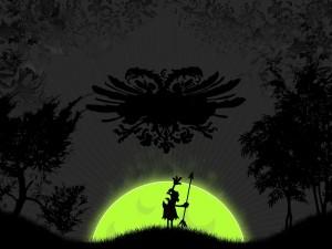 Hombrecillo asustado junto a la luna verde