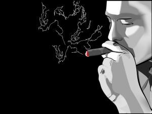 Hombre fumando un puro