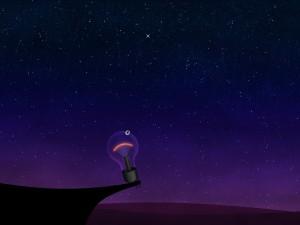 Una bombilla contemplando las estrellas