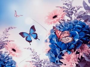 Postal: Mariposa volando sobre las flores