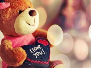 """Oso de peluche con un corazón que dice """"Te Amo"""""""