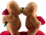 Adorables osos besándose con un regalo cada uno