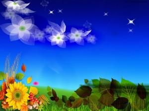 Postal: Sorprendentes flores y hojas