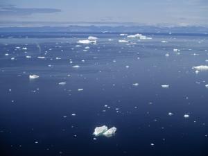 Fragmentos de hielo en el agua