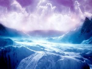 Postal: Nieve y destellos de luz en las montañas