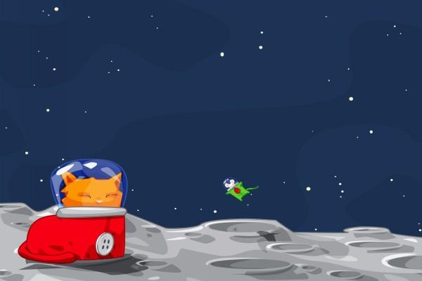 Un gato y un ratón en la luna